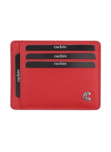 Cachée %100 Deri Kredi Kartlık Kırmızı